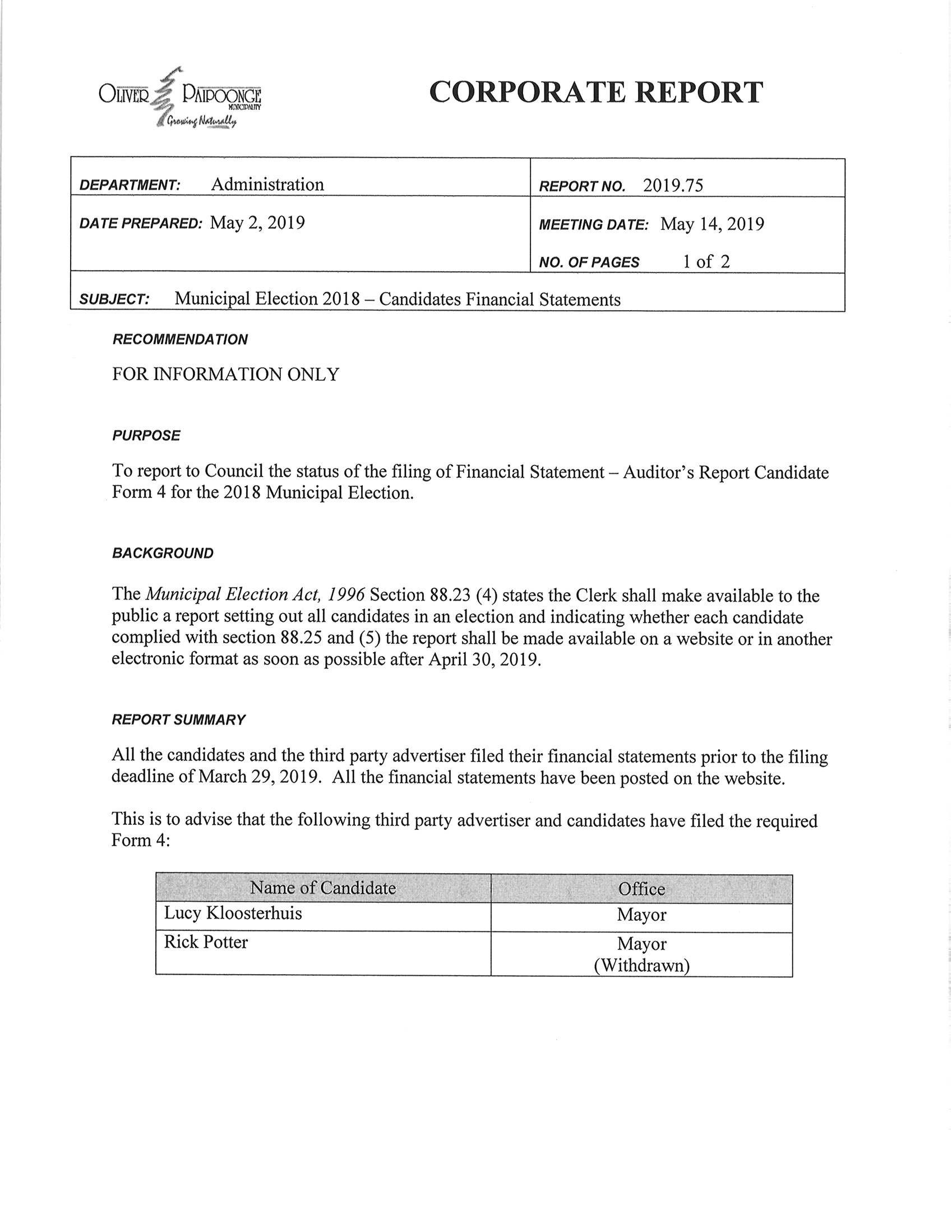 Report 2019.75 - Municipal Election 2018 - Candidates Financial Statements_Page_1.jpg