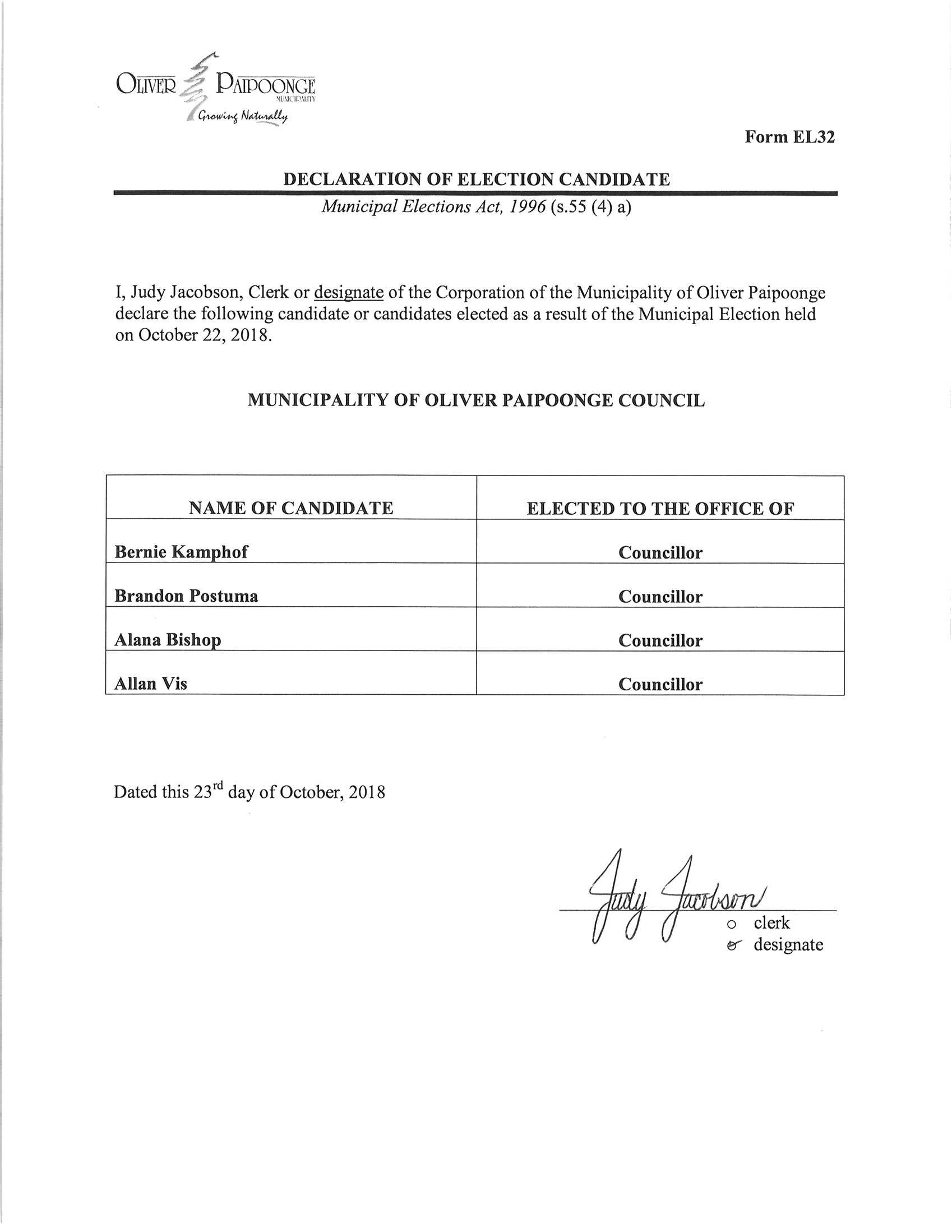 Declaration of Election Candidate