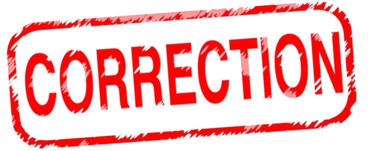 Correction concerning Municipal Road Allowance and the End of John Street Road West